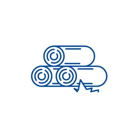 Logs line concept icon. Logs flat  vector website sign, outline symbol, illustration.