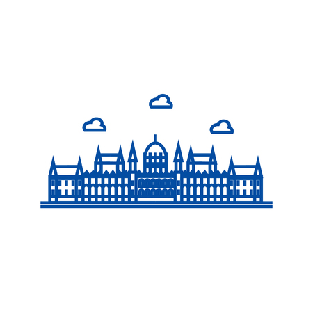 London parliament line concept icon. London parliament flat  vector website sign, outline symbol, illustration. 写真素材 - 120056031