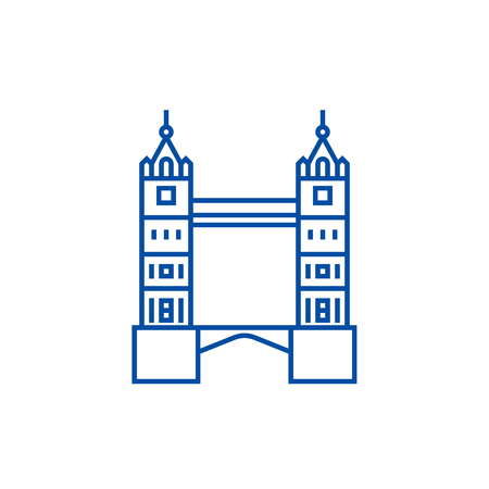 London tower bridge line concept icon. London tower bridge flat  vector website sign, outline symbol, illustration.