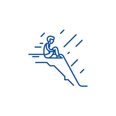 Loneliness line concept icon. Loneliness flat  vector website sign, outline symbol, illustration.