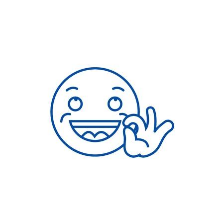 Looking good emoji line concept icon. Looking good emoji flat  vector website sign, outline symbol, illustration. Ilustração