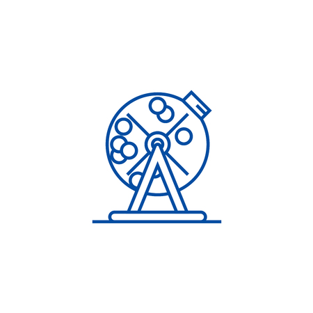 Lottery bingo cage line concept icon. Lottery bingo cage flat  vector website sign, outline symbol, illustration.