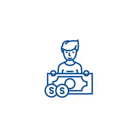 Lottery winner line concept icon. Lottery winner flat vector website sign, outline symbol, illustration.