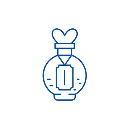 Love potion line concept icon. Love potion flat  vector website sign, outline symbol, illustration.
