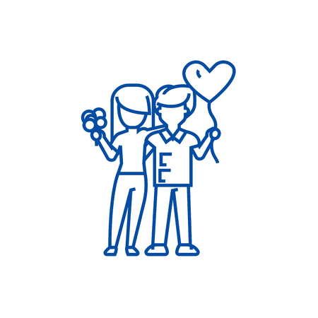 Loving couple with flowers and balloons line concept icon. Loving couple with flowers and balloons flat  vector website sign, outline symbol, illustration.