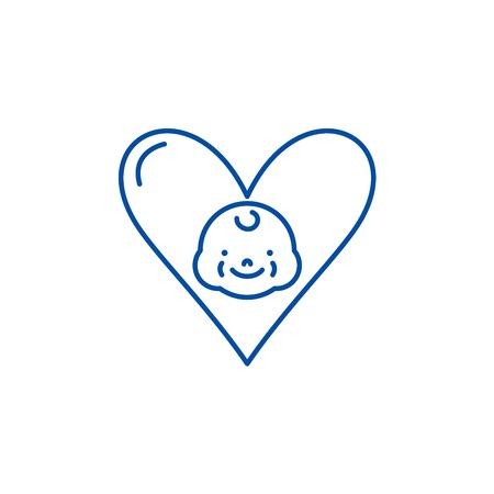 Love to child line concept icon. Love to child flat  vector website sign, outline symbol, illustration. Illustration