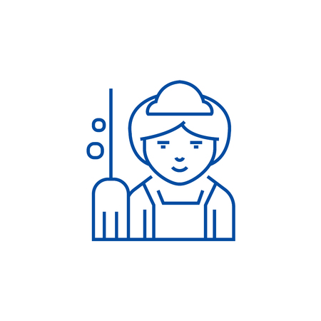 Maid line concept icon. Maid flat  vector website sign, outline symbol, illustration.