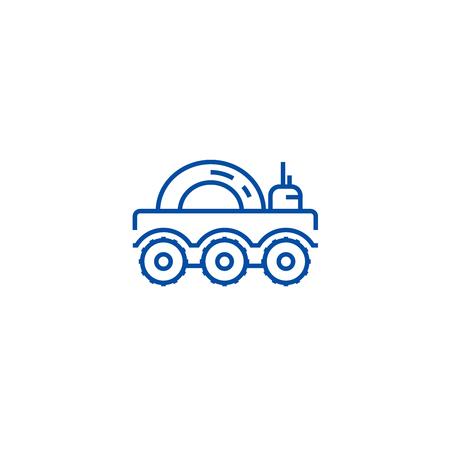 Lunar vehicle line concept icon. Lunar vehicle flat  vector website sign, outline symbol, illustration. Archivio Fotografico - 120070174