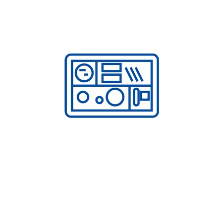 Lunch box line concept icon. Lunch box flat  vector website sign, outline symbol, illustration.