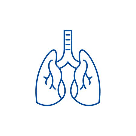 Icona del concetto di linea di polmoni. Polmoni piatto vettore sito web segno, simbolo di contorno, illustrazione. Vettoriali
