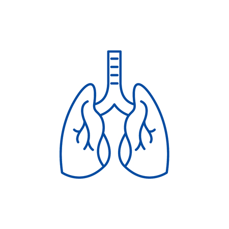 Lungs line concept icon. Lungs flat vector website sign, outline symbol, illustration.
