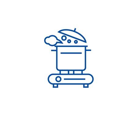 Making soup line concept icon. Making soup flat  vector website sign, outline symbol, illustration.