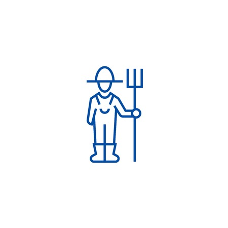 Male farmer with hayfork line concept icon. Male farmer with hayfork flat  vector website sign, outline symbol, illustration.