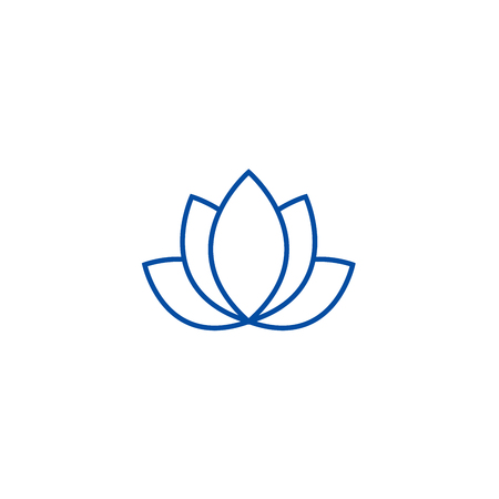 Lotus,india line concept icon. Lotus,india flat  vector website sign, outline symbol, illustration. Illustration