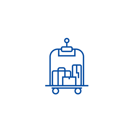Luggage in hotel line concept icon. Luggage in hotel flat  vector website sign, outline symbol, illustration.