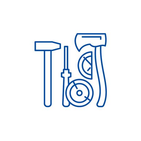 Lumberjack tools line concept icon. Lumberjack tools flat  vector website sign, outline symbol, illustration.  イラスト・ベクター素材