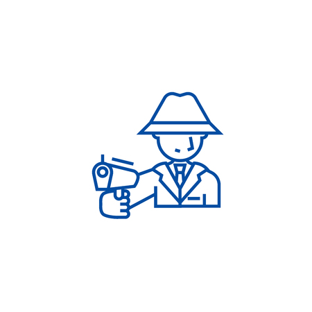 Mafia, man with gun line concept icon. Mafia, man with gun flat  vector website sign, outline symbol, illustration.