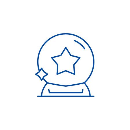 Magic ball line concept icon. Magic ball flat  vector website sign, outline symbol, illustration.