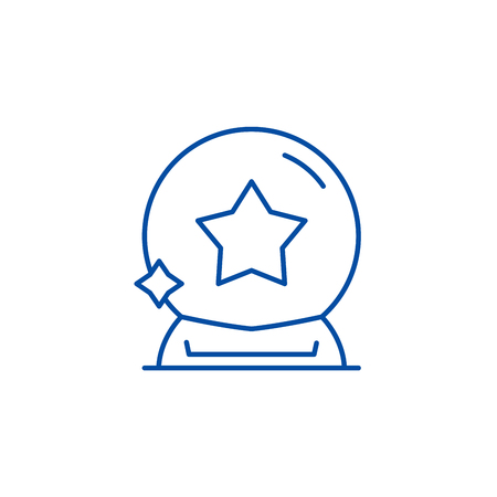 Magic ball line concept icon. Magic ball flat  vector website sign, outline symbol, illustration.