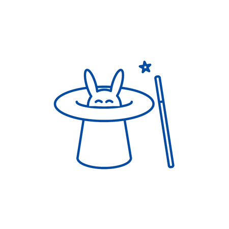Magician with rabbit,magic hat, wand trick line concept icon. Magician with rabbit,magic hat, wand trick flat  vector website sign, outline symbol, illustration.