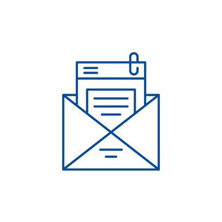 Mailing list line concept icon. Mailing list flat vector website sign, outline symbol, illustration.