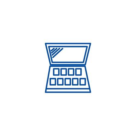 Makeup line concept icon. Makeup flat  vector website sign, outline symbol, illustration.