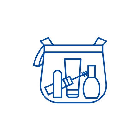 Makeup bag line concept icon. Makeup bag flat  vector website sign, outline symbol, illustration.