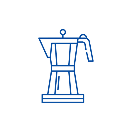 Making coffee line concept icon. Making coffee flat  vector website sign, outline symbol, illustration.