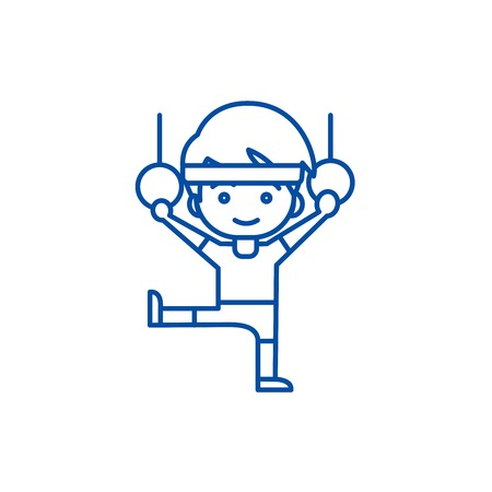 Man aerobics,workout,gymnastics rings line concept icon. Man aerobics,workout,gymnastics rings flat  vector website sign, outline symbol, illustration.