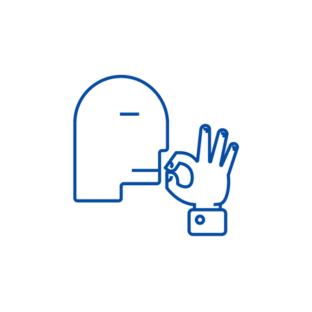 Man kissing fingers  line concept icon. Man kissing fingers  flat  vector website sign, outline symbol, illustration. Reklamní fotografie - 120054340