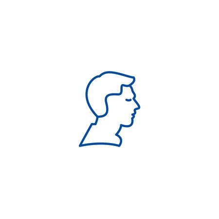 Man profile line concept icon. Man profile flat  vector website sign, outline symbol, illustration.