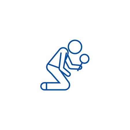 Man searching with magnifying glass line concept icon. Man searching with magnifying glass flat  vector website sign, outline symbol, illustration.