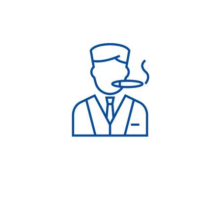 Man smoking cigar line concept icon. Man smoking cigar flat  vector website sign, outline symbol, illustration.