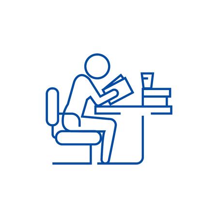 Man studeren, lezen boek in bibliotheek lijn concept icoon. Man studeren, lezen boek in bibliotheek platte vector website teken, overzichtssymbool, afbeelding.