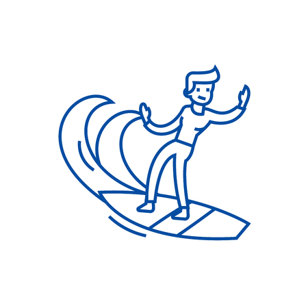 Man surfing line concept icon. Man surfing flat  vector website sign, outline symbol, illustration.
