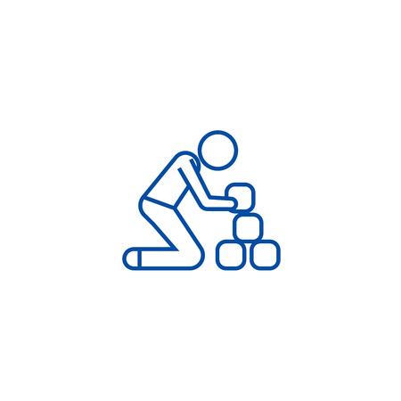 Man taking bricks line concept icon. Man taking bricks flat  vector website sign, outline symbol, illustration.  イラスト・ベクター素材
