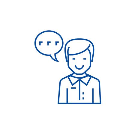 Man talking line concept icon. Man talking flat  vector website sign, outline symbol, illustration. Illustration