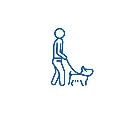 Man walking dog line concept icon. Man walking dog flat  vector website sign, outline symbol, illustration. Иллюстрация