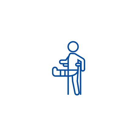 Man with broken leg,gypsum foot crutch line concept icon. Man with broken leg,gypsum foot crutch flat  vector website sign, outline symbol, illustration.