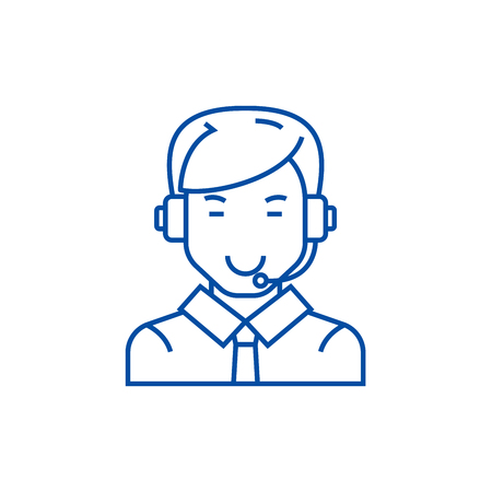 Man with headset line concept icon. Man with headset flat  vector website sign, outline symbol, illustration.  イラスト・ベクター素材