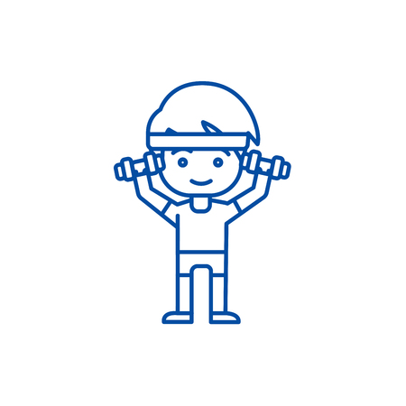 Man workout with weights, hands up line concept icon. Man workout with weights, hands up flat  vector website sign, outline symbol, illustration.