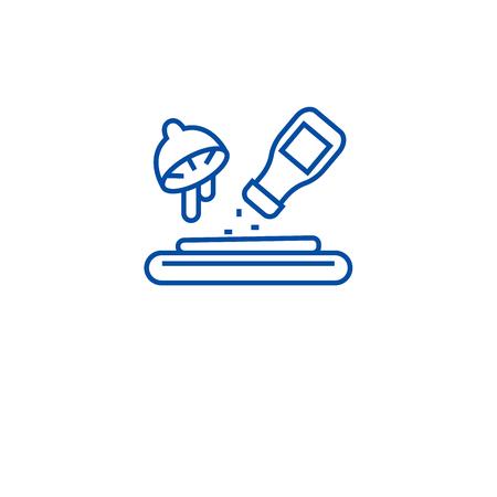 Marinade ingredients line concept icon. Marinade ingredients flat  vector website sign, outline symbol, illustration.