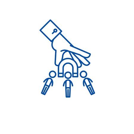 Icono de concepto de línea de mercado objetivo. Objetivo de mercado vector plano sitio web de señal, símbolo de contorno, Ilustración.