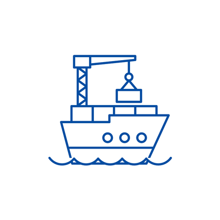 Maritime logistics line concept icon. Maritime logistics flat  vector website sign, outline symbol, illustration. Stock Vector - 120052908