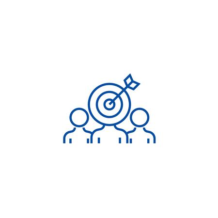 Marketing audience engagement line concept icon. Marketing audience engagement flat  vector website sign, outline symbol, illustration.