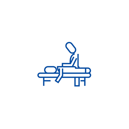 Manual therapy,massage,spa,osteopathy line concept icon. Manual therapy,massage,spa,osteopathy flat  vector website sign, outline symbol, illustration. Stok Fotoğraf - 120052911