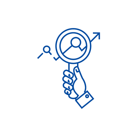 Market research,zoom in hand,searching  line concept icon. Market research,zoom in hand,searching  flat  vector website sign, outline symbol, illustration.