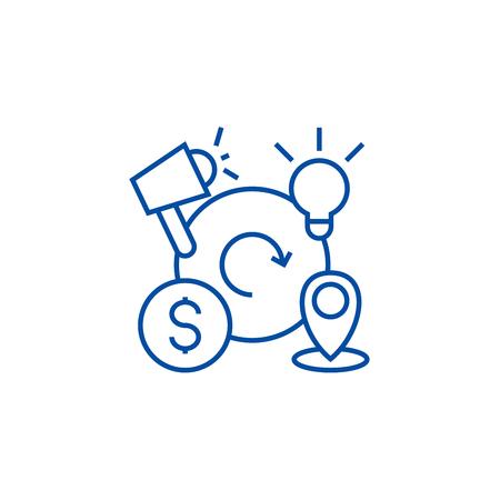 Marketing mix,4p line concept icon. Marketing mix,4p flat  vector website sign, outline symbol, illustration.