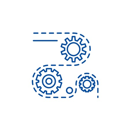 Manufacturing processes line concept icon. Manufacturing processes flat  vector website sign, outline symbol, illustration.