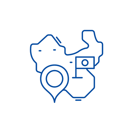 Map of china line concept icon. Map of china flat  vector website sign, outline symbol, illustration.  イラスト・ベクター素材